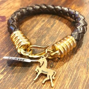 Brown Braided Leather Bracelet with Gold Horse 🐎